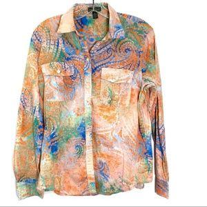Ralph Lauren Paisley Oxford Style Shirt Size L